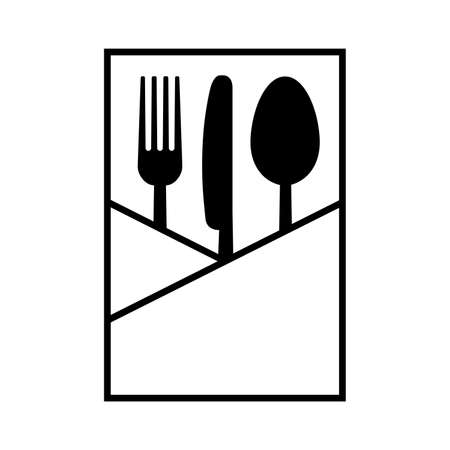 Fork knife and spoon in a napkin on white background. Vector illustration  イラスト・ベクター素材