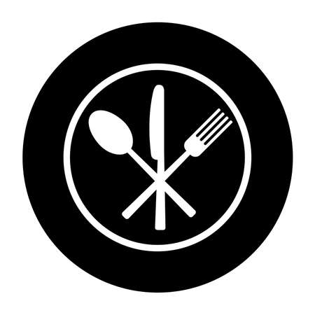 Fork, knife and spoon on plate background. Vector illustration