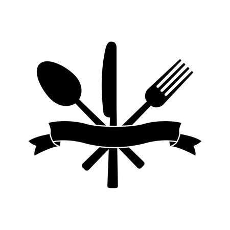 Knife, fork, spoon and ribbon on white background. Vector illustration