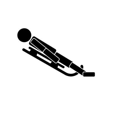 Rennrodelsport. Ikone auf weißem Hintergrund. Vektor-illustration