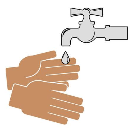 Waschen Sie Ihre Hände . Symbol auf weißem Hintergrund . Vektor-Illustration Standard-Bild - 95246566