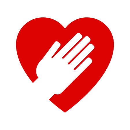 Hand op hartpictogram op een witte achtergrond.