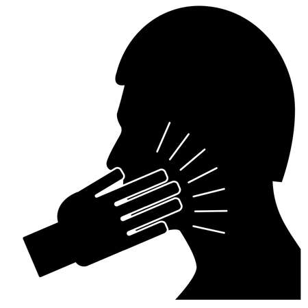 Slap in the face icon in silhoutte on white background.