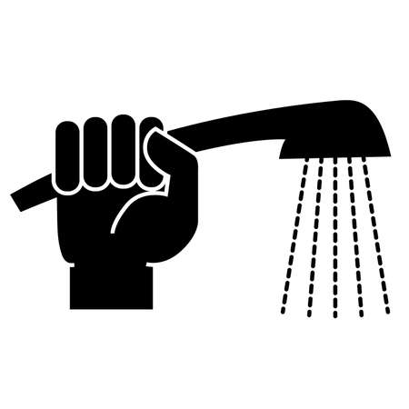 The man holds a shower in his hand. Icon is not a white background. Vector illustration