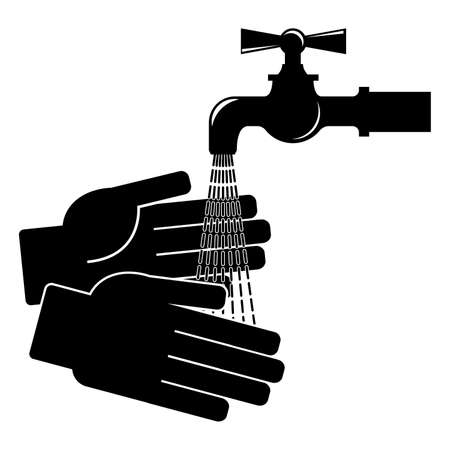 Wash your hands. Icon on white background. Vector illustration Vettoriali