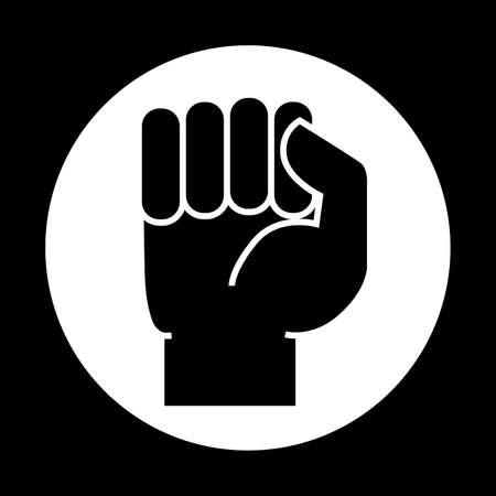 A hand clenched into a fist. Icon on white background. Vector illustration