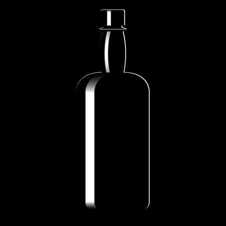 Silhouette of a bottle with an alcoholic drink. Vector illustration