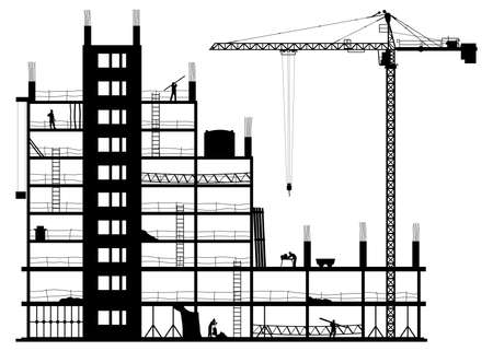 Silhouette of a construction site on a white background. Vector illustration Ilustracja
