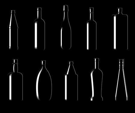 Collection of bottles of different shapes on a black background. Vector illustration Illustration