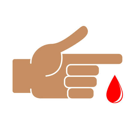 Finger with blood drop on white background. Vector illustration Vectores