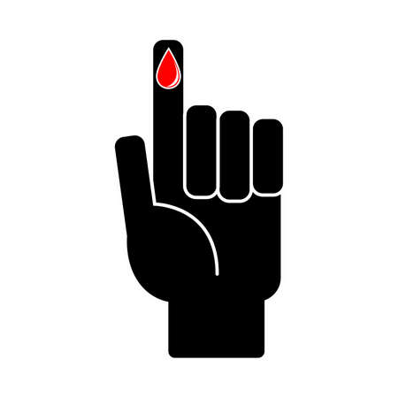 Finger with blood drop on white background. Vector illustration Vettoriali