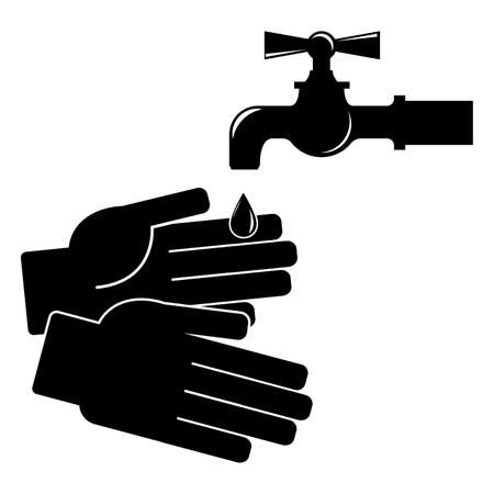 Waschen Sie Ihre Hände . Symbol auf weißem Hintergrund . Vektor-Illustration Standard-Bild - 95738160
