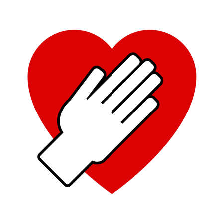 Hand on heart. Icon on a white background. Vector illustration Illustration