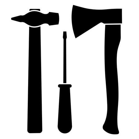 Axe, screwdriver and hammer on a white background. Vector illustration