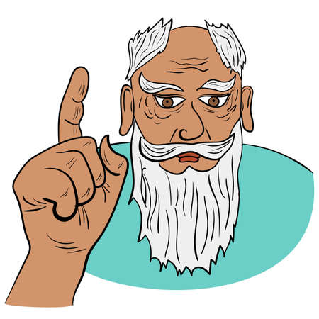 The old sage raised his index finger in edifying. Vector illustration