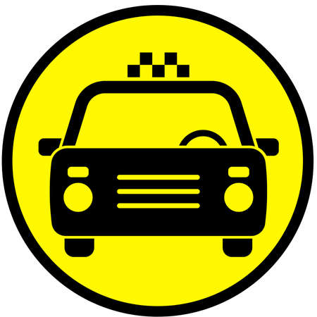 Icon with the image of a taxi car Vector illustration