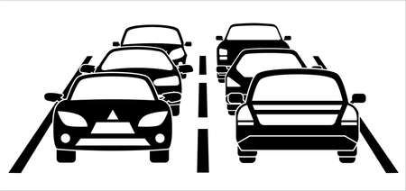 A traffic jam on the road during rush hour Vector illustration