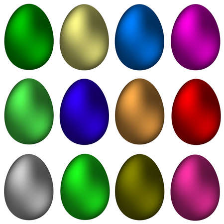 A set of painted Easter eggs. Vector illustration Illustration