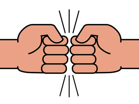 Two fists bumping together. The concept of struggle and confrontation. Vector illustration