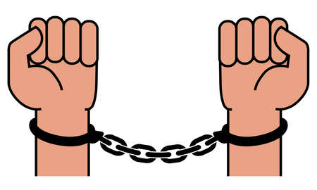 Handcuffs on the hands of the criminal. A crime, corruption and arrest concept. Vector illustration Stock Illustratie