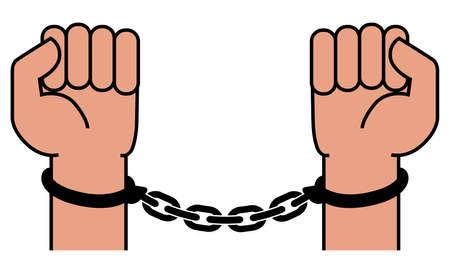 Handcuffs on the hands of the criminal. A crime, corruption and arrest concept. Vector illustration Illustration