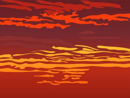 Rood oranje hemel na zonsondergang. Vector illustratie