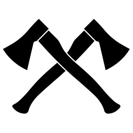 Two crossed axes on a white background vector illustration.