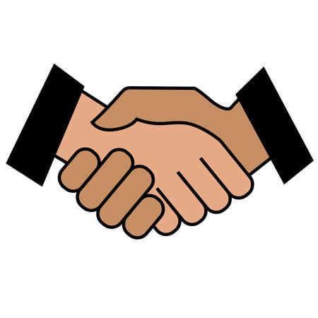 Business handshake. Icon on white background. Vector illustration Stock Photo