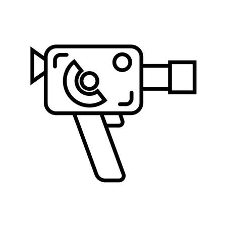 Retro clockwork 8mm film camera on a white background. Vector illustration