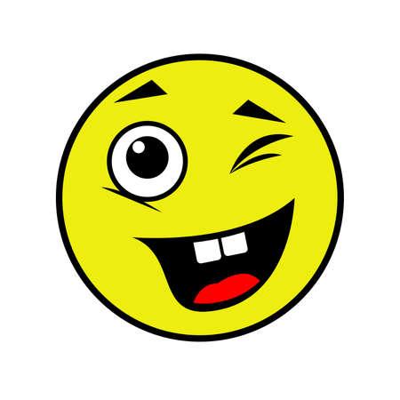 Joyful smiley on a white background. Vector illustration