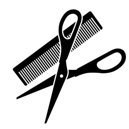 Hairdressing scissors and comb on white background. Vector illustration Zdjęcie Seryjne