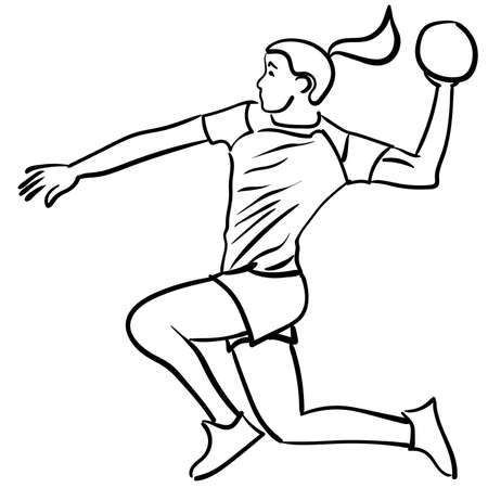 Handball player with the ball in attack. Vector illustration Ilustracja