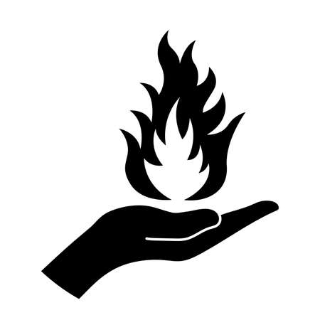 Icon of a flame on the palm of hand. Vector illustration