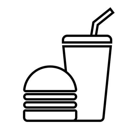 Symbolical image of a hamburger and a glass with a drink. Vector illustration Иллюстрация