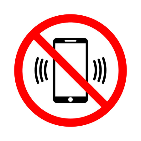 Sign prohibiting the use of a mobile phone. Vector illustration