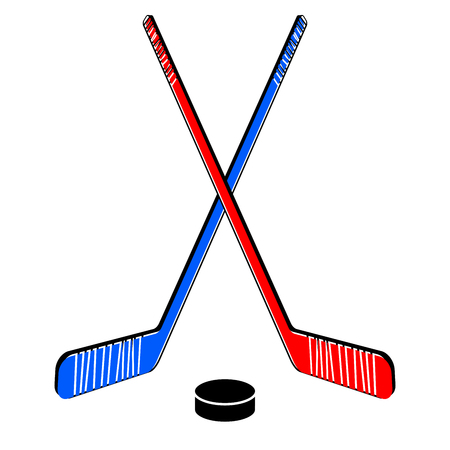 Two crossed hockey sticks and a puck. Vector illustration