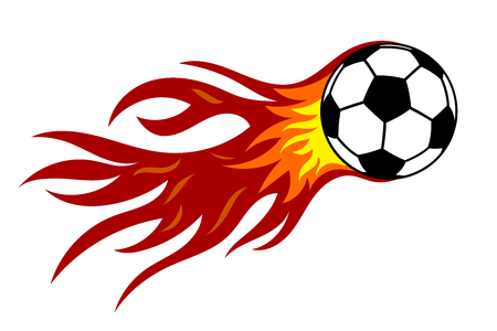 Soccer ball in fire. Vector illustration on white background