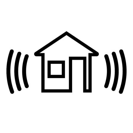 Sicherheitsalarm im Haus. Symbol auf weißem Hintergrund