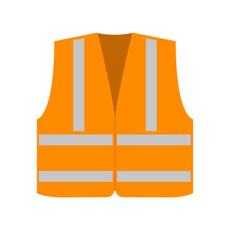 Orange signal vest with reflective stripes. Vector illustration Illustration