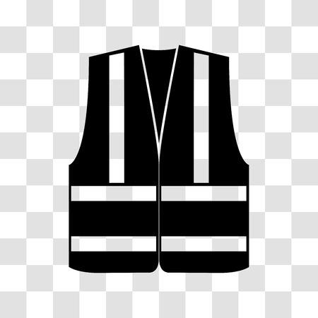 Signal vest with reflective stripes on a transparent background. Vector illustration