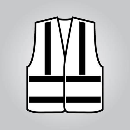 Signal vest with reflective stripes. Vector illustration