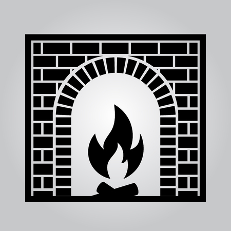 Classic brick fireplace. The element of the interior living room. Vector illustration Illustration