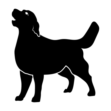 Golden Retriever on a white background. Silhouette. Vector illustration