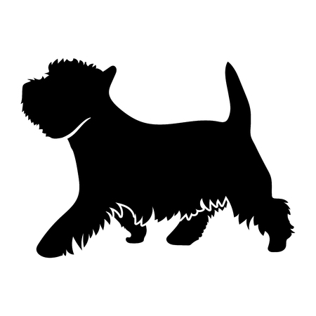 West Highland White Terrier on a white background. Silhouette. Vector illustration  イラスト・ベクター素材