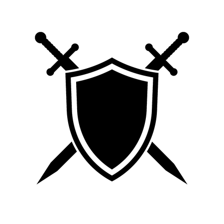 Shield and swords icon on white background. Vector illustration