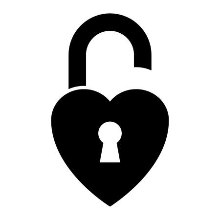 Heart shaped padlock on white background. Vector illustration