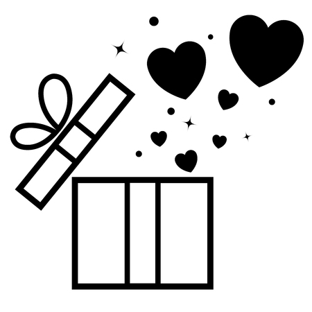 Opened gift box with flying hearts. Valentine s card