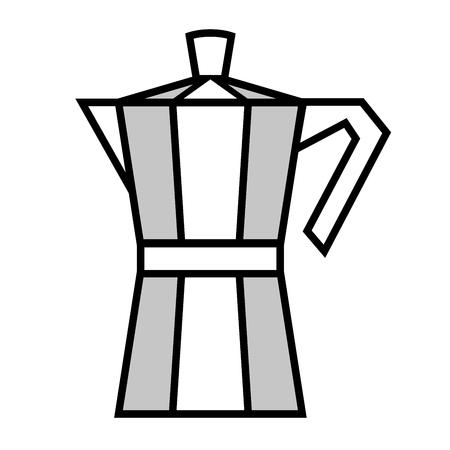 Italian coffee maker, moka pot. Vector illustration