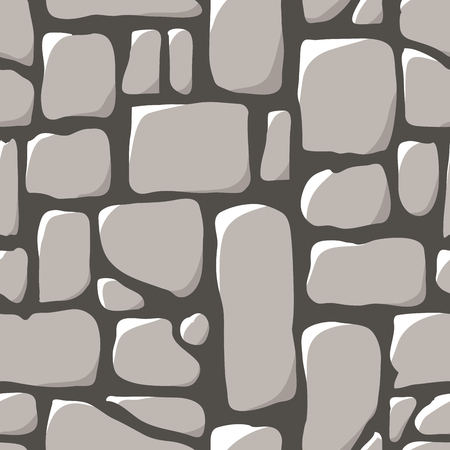 Seamless pattern. Cobblestone pavement or a stone wall. Vector illustration