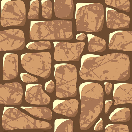 Seamless pattern. Cobblestone pavement or a stone wall. Vector illustration Illustration